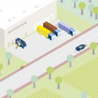 Consolidation of deliveries in out-of-town logistics hubs.