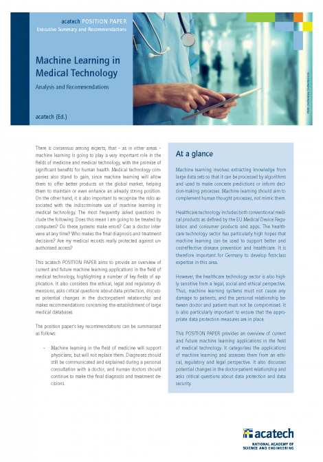 """Cover of the publication """"Machine Learning in Medical Technology"""""""