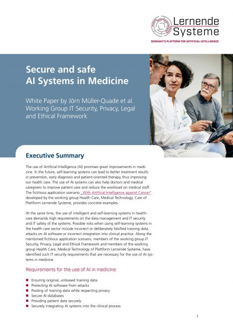 """Cover of the publication """"Secure and safe AI systems in Medicine"""""""