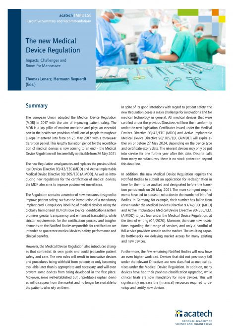 """Cover of the publication """"The new Medical Device Regulation"""""""