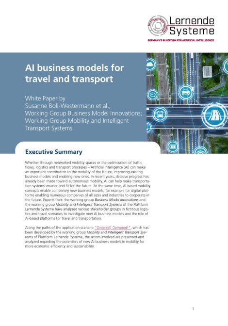 """Cover of the publication """"AI business models for travel and transport"""""""