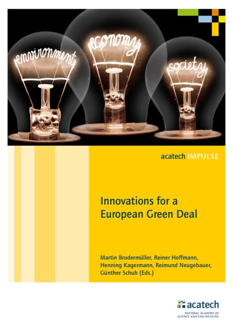 """Cover of the publication """"Innovations for a European Green Deal"""""""