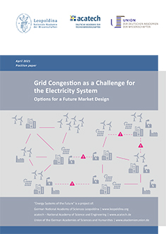 """Cover of the publication """"Grid Congestion as a Challenge for the Electricity System"""""""