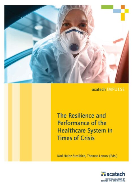 """Cover of the publication """"The Resilience and Performance of the Healthcare System in Times of Crisis"""""""