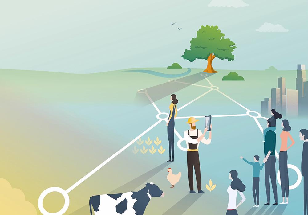 Graphic representation of a networked and digital farm.