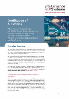 """Cover of the publication """"Certification of AI systems"""""""