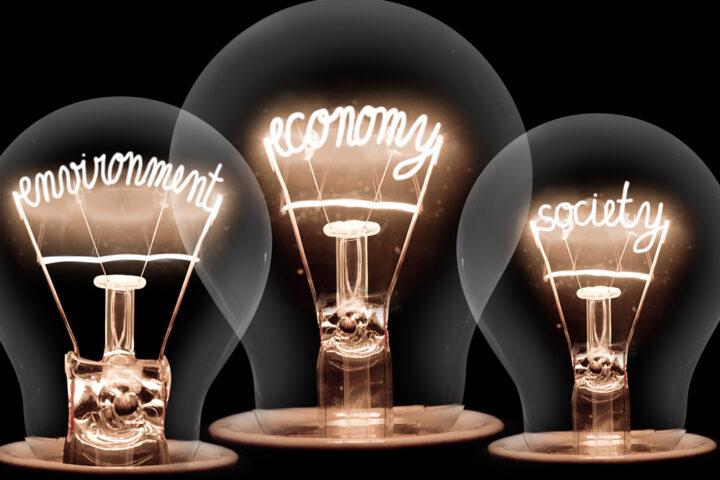 Photo of three glowing light bulbs