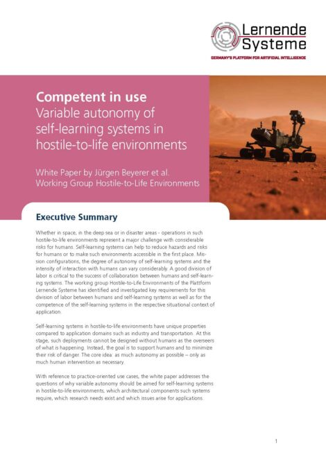 """Cover of the publication """"Competent in use Variable autonomy of self-learning systems in hostile-to-life environments"""""""