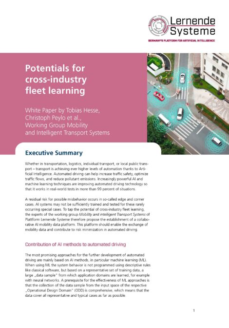 """Cover of the publication """"Potentials for cross-industry fleet learning"""""""